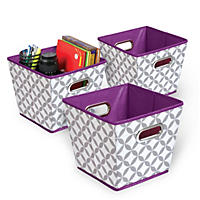 Bintopia Grommet Storage Bins, Set of 3 (Multiple Patterns Available)