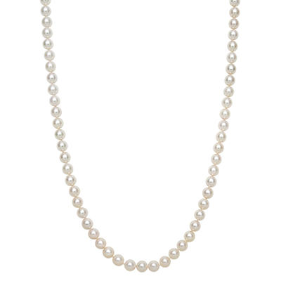 6.5-7.0mm Cultured Akoya Pearl Strand Necklace in 14K Yellow Gold