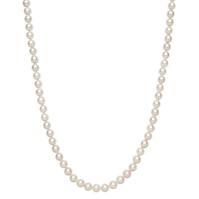 7.0-7.5mm Cultured Akoya Pearl Strand Necklace in 14K Yellow Gold