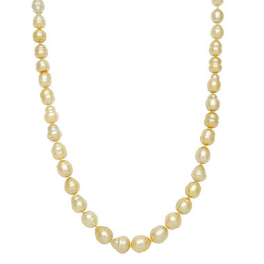 "9.7-12.0mm 17"" Baroque Golden South Sea Pearl Necklace in 14K Yellow Gold"