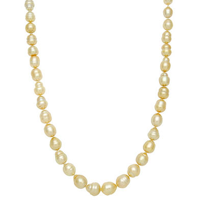 """9.7-12.0mm 17"""" Baroque Golden South Sea Pearl Necklace in 14K Yellow Gold"""
