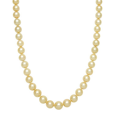 "10.0-12.0mm 17"" Round Golden South Sea Pearl Necklace in 14K Yellow Gold"