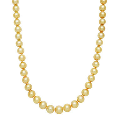 "11.0-13.0mm 17"" Golden South Sea Pearl Necklace in 14K Yellow Gold"