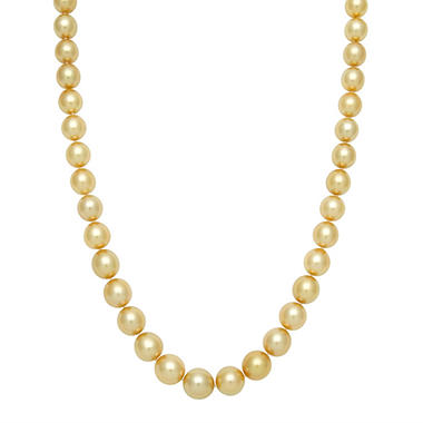 "11.0-14.0mm 17"" Golden South Sea Pearl Necklace in 14K Yellow Gold"