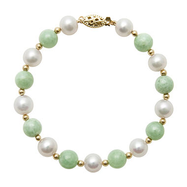 Round Shaped Jade and Cultured Freshwater Pearl Bracelet in 14k Yellow Gold