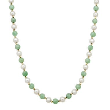 Round Shaped Jade and Cultured Freshwater Pearl Necklace in 14k Yellow Gold