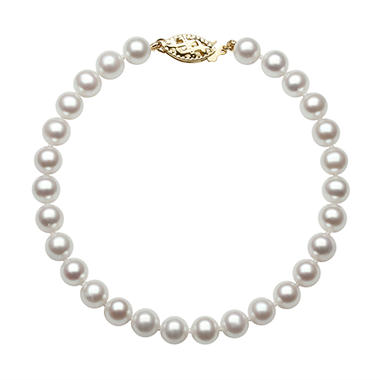 6.0-6.5mm White Cultured Akoya Pearl Bracelet finished in 14K Yellow Gold