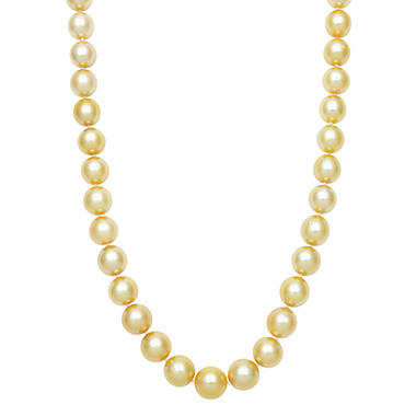 10.0-11.0mm Golden South Sea Pearl Necklace in  14K Yellow Gold