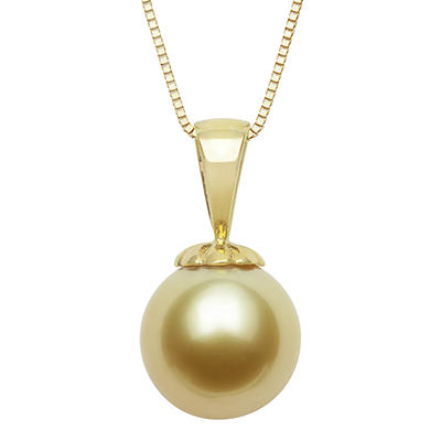 9.0-10.0mm Golden South Sea Pearl Pendant in 14K Yellow Gold