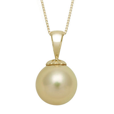 10.0-11.0mm Golden South Sea Pearl Pendant in 14K Yellow Gold