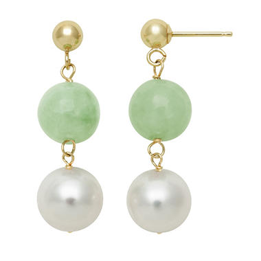 Round Shaped Jade and Cultured Freshwater Pearl Dangle Earrings in 14k Yellow Gold