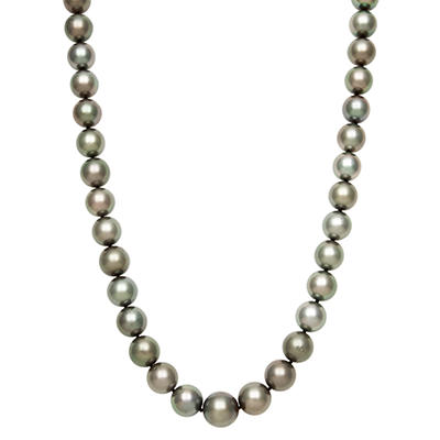 10.0-12.0mm Tahitian Black Pearl Strand Necklace in 14K White Gold