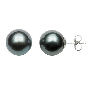 11.0-12.0mm Cultured Tahitian Black Pearl Studs in 14K White Gold