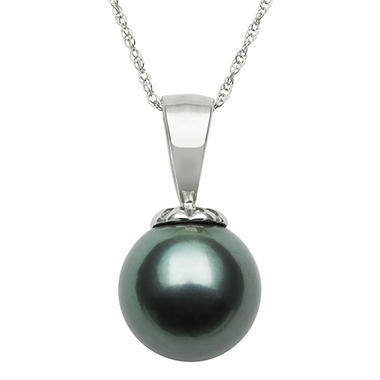 8.0-9.0mm Tahitian Black Pearl Pendant with Diamond Accent in 14K White Gold