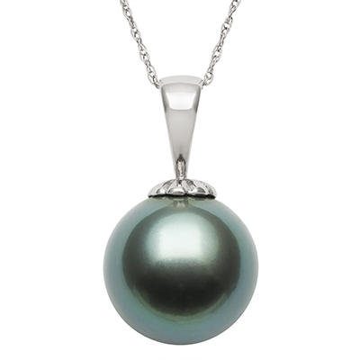 11.0-12.0mm Tahitian Black Pearl Pendant in 14K White Gold