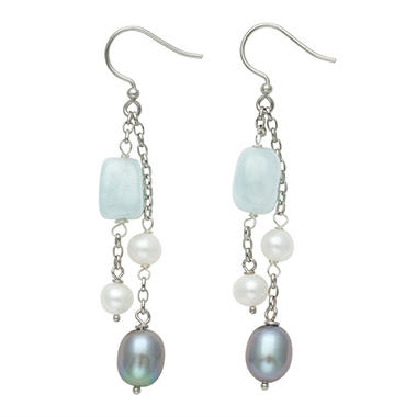 Cultured Freshwater Pearl and Aquamarine Wire Earrings in Sterling SIlver