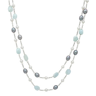 "Cultured Freshwater Pearl and Aquamarine 2-Row 18"" Necklace in Sterling SIlver"