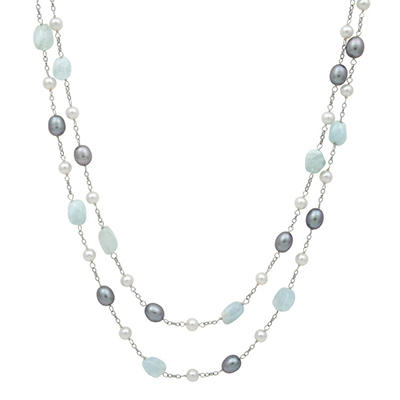 """Cultured Freshwater Pearl and Aquamarine 2-Row 18"""" Necklace in Sterling SIlver"""