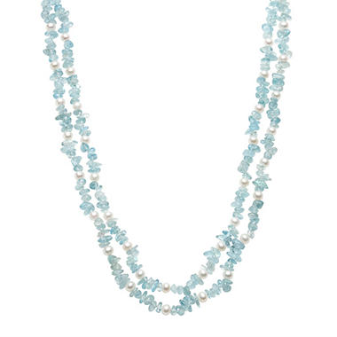 Cultured Freshwater Pearl and Chipped Aquamarine 2-Row Necklace in Sterling Silver