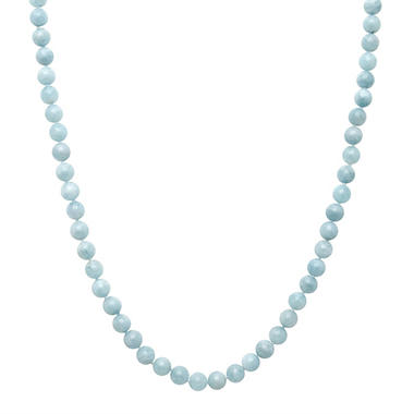 "18"" Aquamarine Bead Necklace in Sterling Silver"