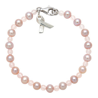 Pink Freshwater Cultured Pearl and Rose Quartz Bracelet with Sterling Silver Pink Ribbon Charm