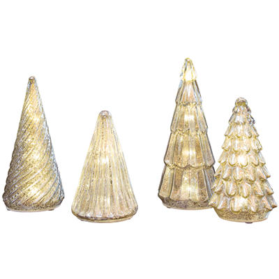 Mercury Glass Trees with LED Lights Set (4 pc. set)