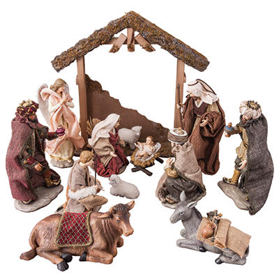 Hand-Painted Indoor Nativity Set (14 pcs.)