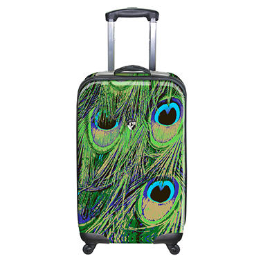 "Heys USA Novus Art Metallic 26"" Hardside Spinner - Peacock Print"