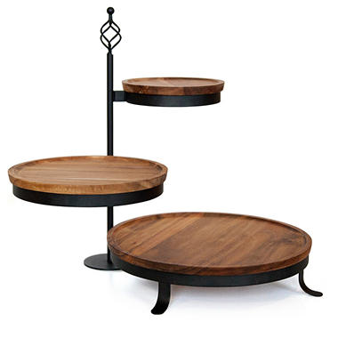 3 Tier Swivel Acacia Server