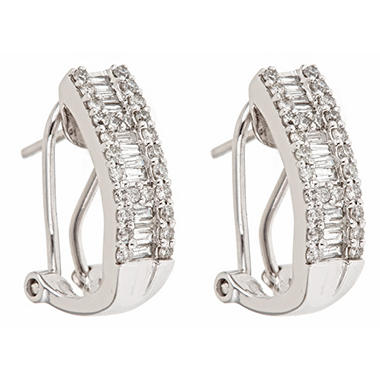 0.75 ct. t.w. Round and Baguette Cut Diamond Hoop Earrings in 14K White Gold (H-I, I1)