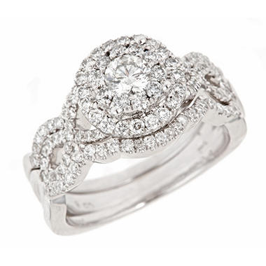 1.25 ct. t.w. Round Cut Diamond Bridal Ring in 14K White Gold (H-I, I1)