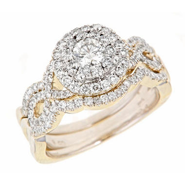 1.25 ct. t.w. Round Cut Diamond Bridal Ring Set in 14K Yellow Gold (H-I, I1)