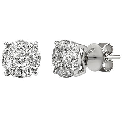 1 CT. TW. Round Cut Diamond Stud Earrings in 14K White Gold H-I, I1 (IGI Appraisal Value: $1,360.00)