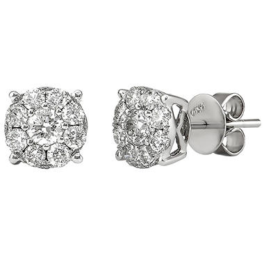 1.00 CT. TW. Round Cut Diamond Stud Earrings in 14K White Gold  (H-I, I1)