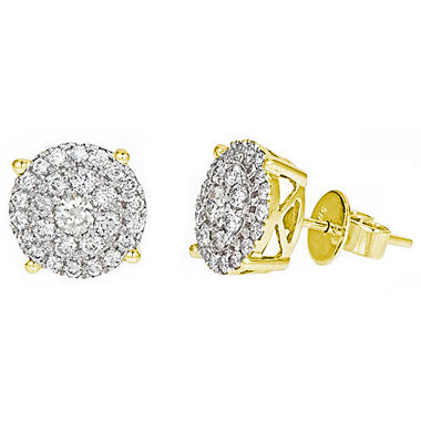 1 ct. t.w. Round Cut Diamond Fashion Stud Earrings in 14K Yellow Gold (H-I, I1)