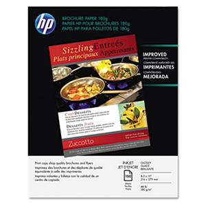 HP Inkjet Brochure/Flyer Paper, 48lb,  98 Bright, 8 1/2 x 11, White, 150 Sheets
