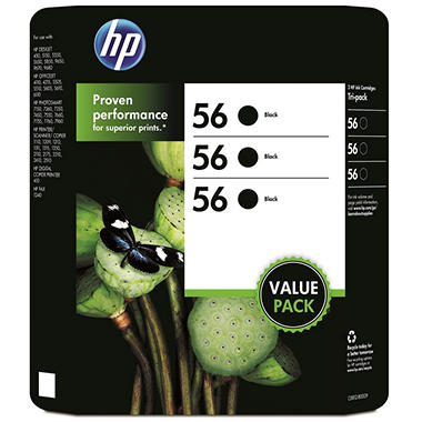 HP 56 Original Ink Cartridge, Black (3 pk., 520 Page Yield)