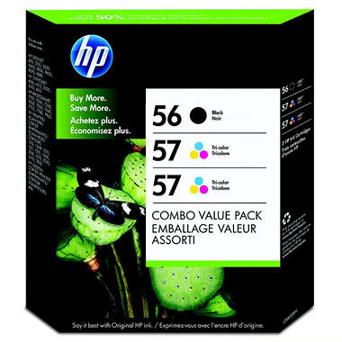 HP 56/57/57 Original Ink Cartridge, Black/Tri-Color (3 pk., 520 Page Yield)