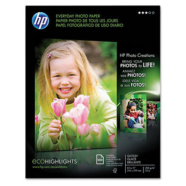 "HP Everyday Glossy Photo Paper - 8.5"" x 11"""
