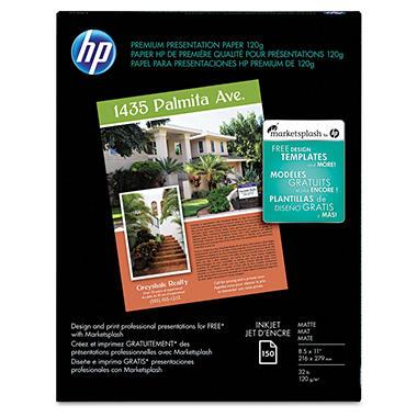 HP - Premium Presentation Paper, Inkjet, 32lb, Matte - 150 Sheets