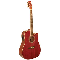 Kona Dreadnought Acoustic/Electric Spruce Top Guitar with High Gloss Transparent Red Finish