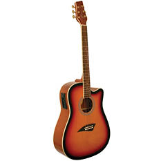 Kona Dreadnought Acoustic/Electric Spruce Top Guitar with High Gloss Tobacco Sunburst Finish