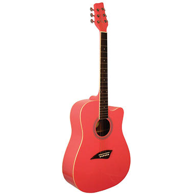 Kona Dreadnought Acoustic Guitar with High Gloss Pink Finish