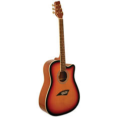 Kona Dreadnought Acoustic Guitar with High Gloss Tobacco Sunburst Finish