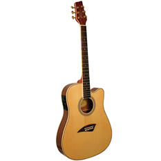 Kona Thin Body Acoustic/Electric Guitar with High  Gloss Finish Select Spruce Top