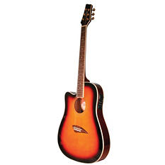Kona Left  Handed Thin Body Acoustic/Electric Guitar with High  Gloss Tobacco Sunburst Finish