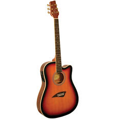 Kona Thin Body Acoustic/Electric Guitar with High  Gloss Tobacco Sunburst Finish