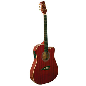 Kona Thin Body Acoustic/Electric Guitar with High Gloss Transparent Red Finish