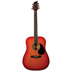Kona Acoustic Dreadnought Guitar in Cherry Sunburst Finish