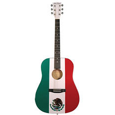 Main Street Dreadnought Acoustic Guitar with Mexican Flag on High Gloss White Finish